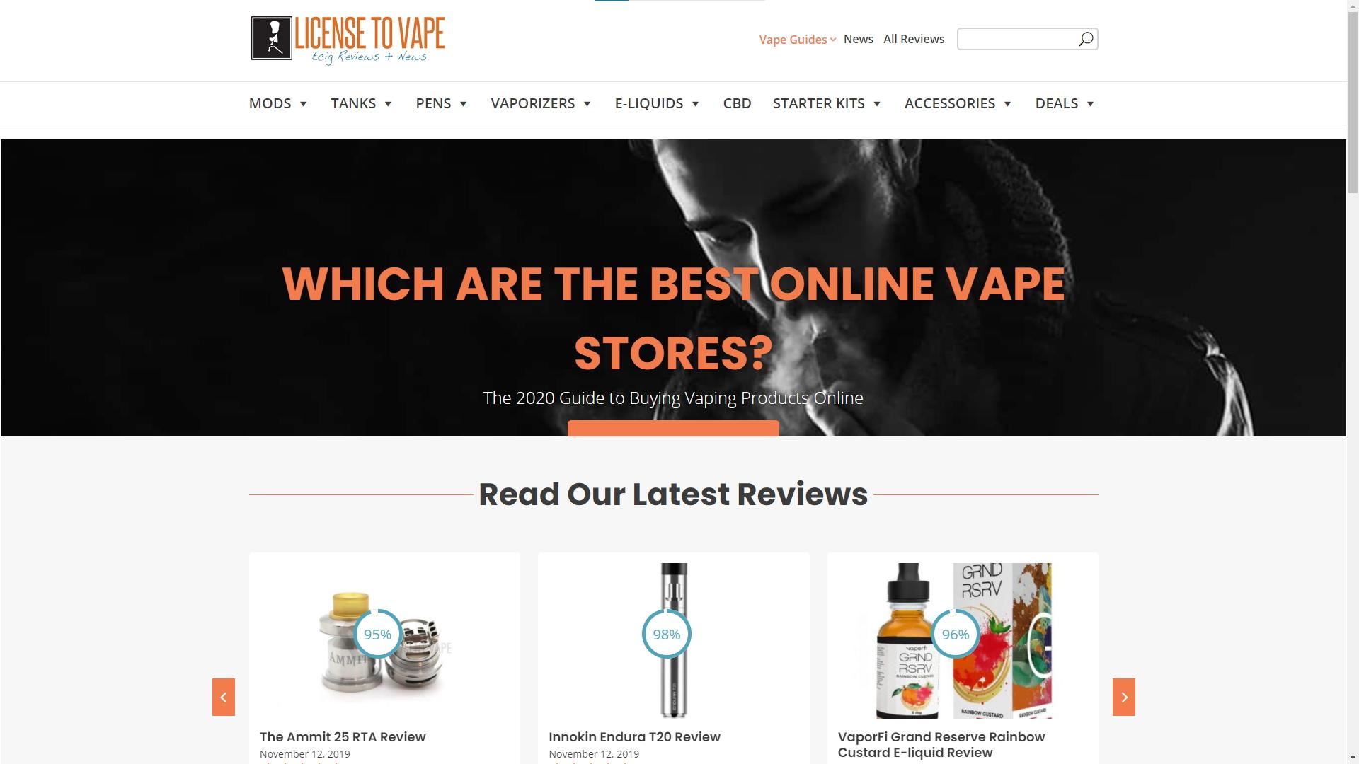license to vape homepage